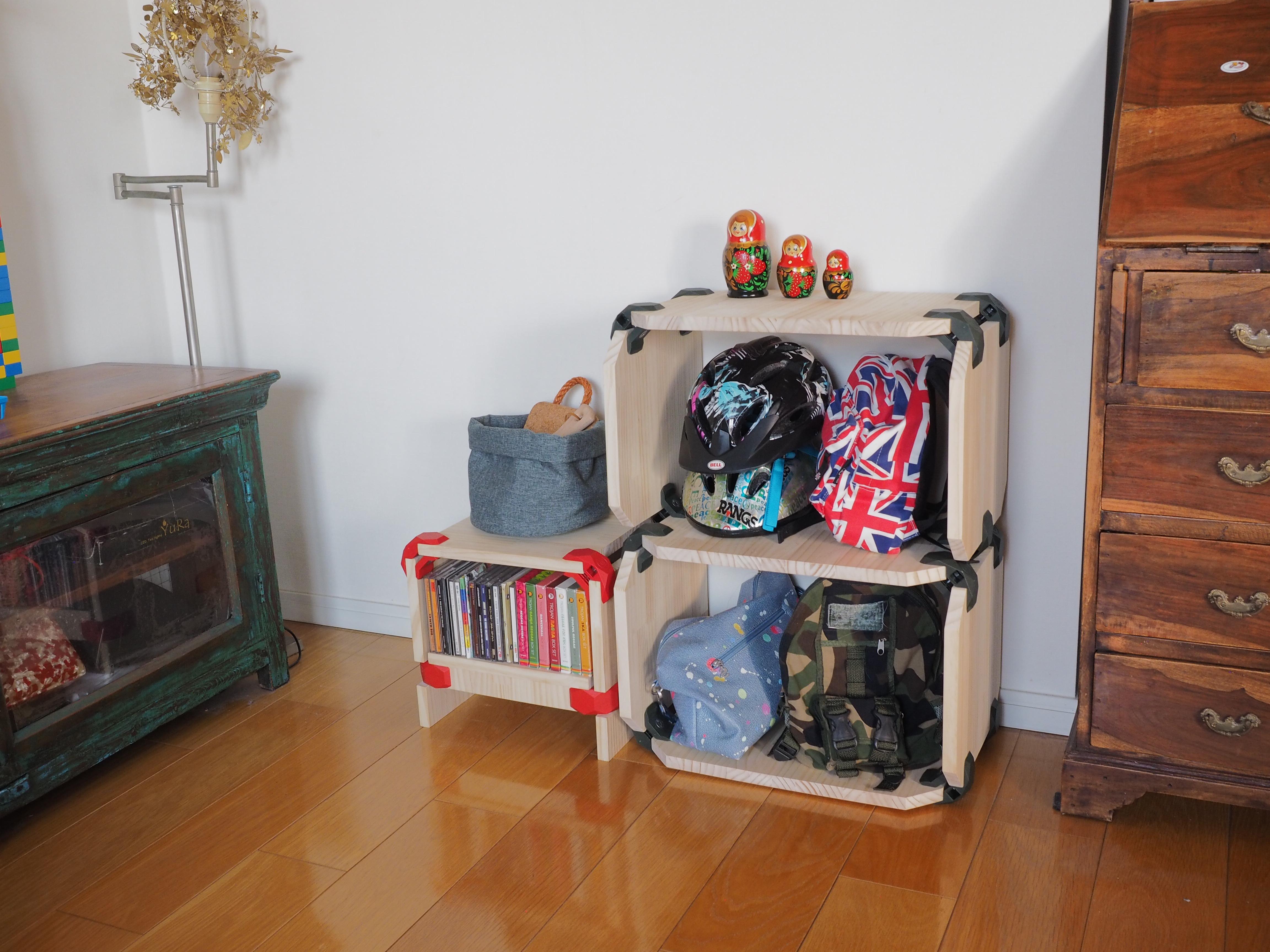 本棚や小物の収納ボックスをお好みのサイズで作成可能。